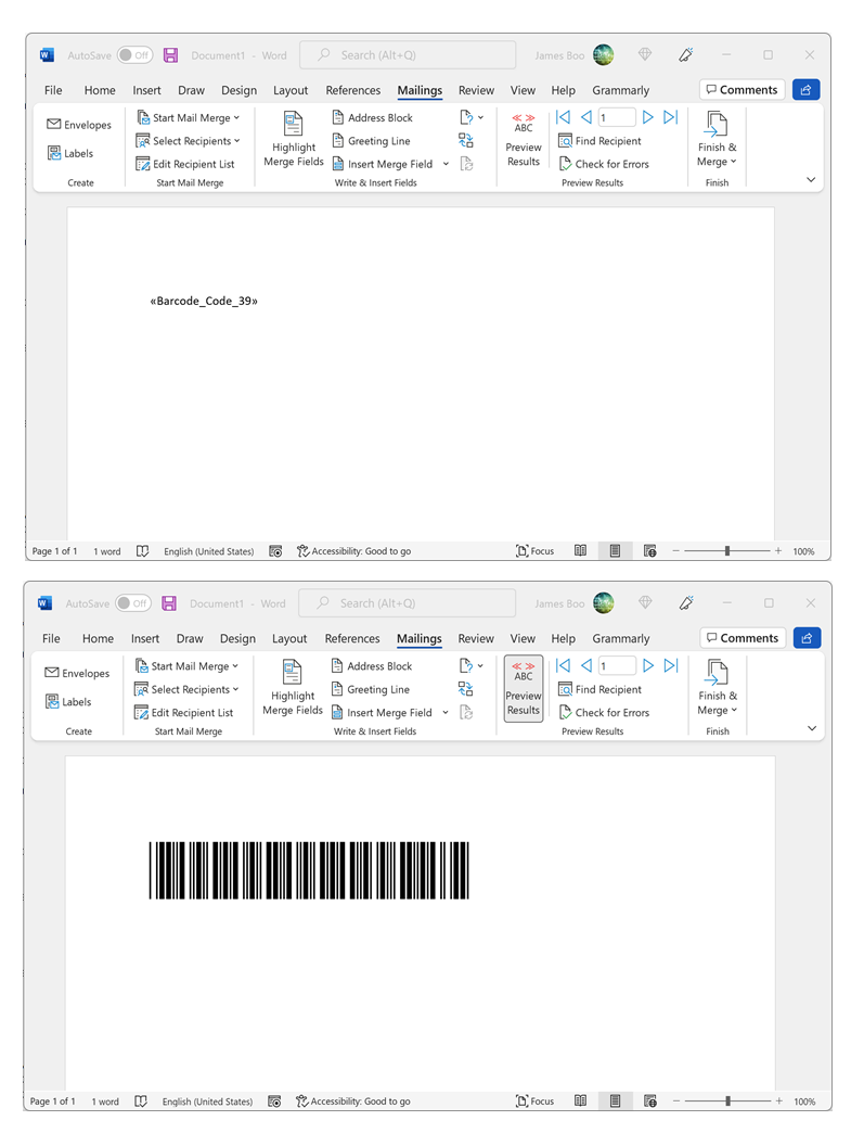 how to include merge code in word