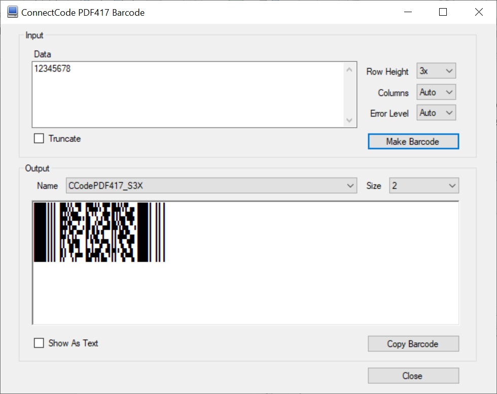 ConnectCode PDF417 Barcode Fonts