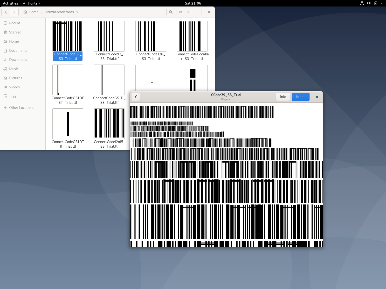 Installing the Barcode Fonts on Debian Linux