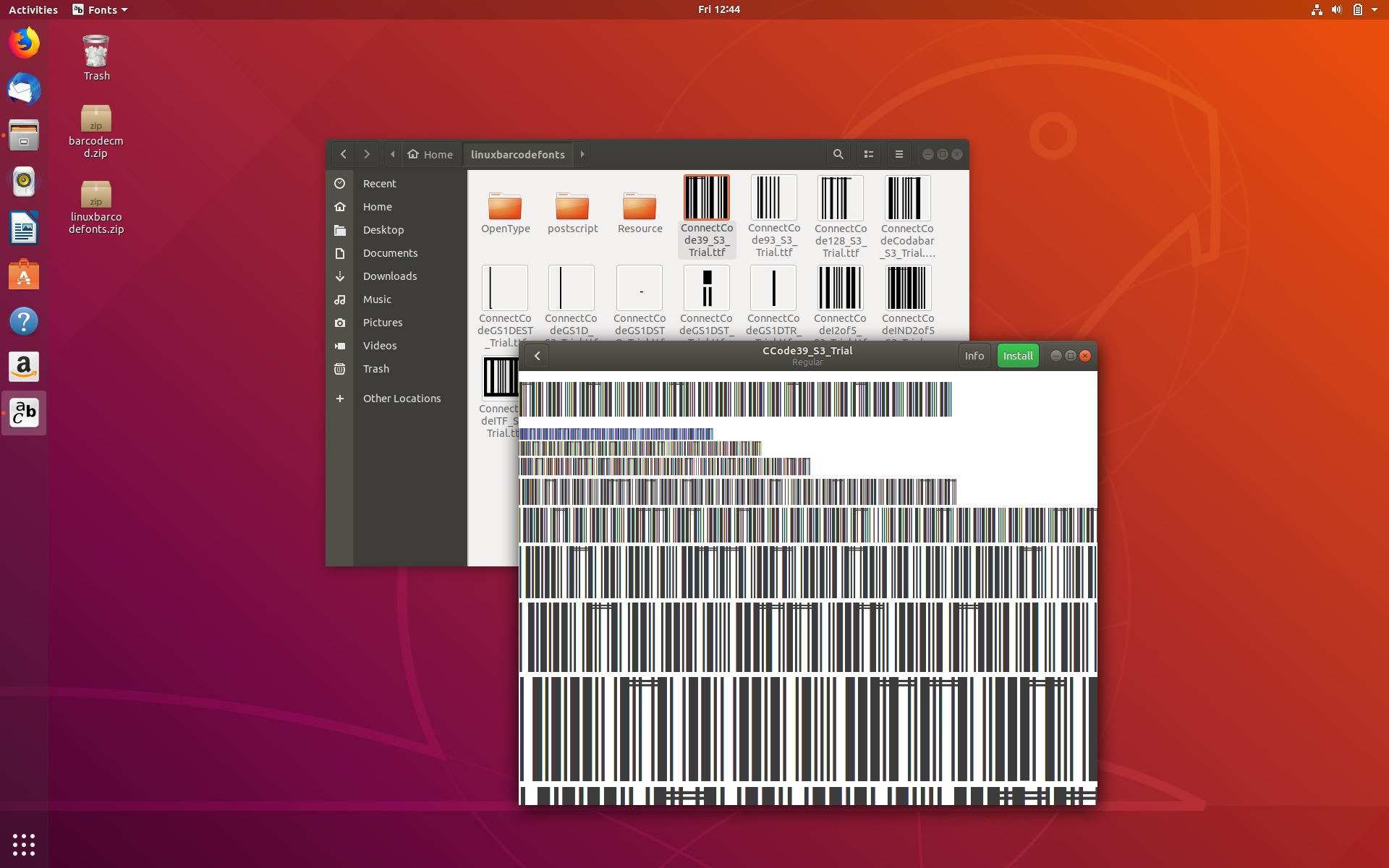 Installing the Barcode Fonts on Ubuntu Linux